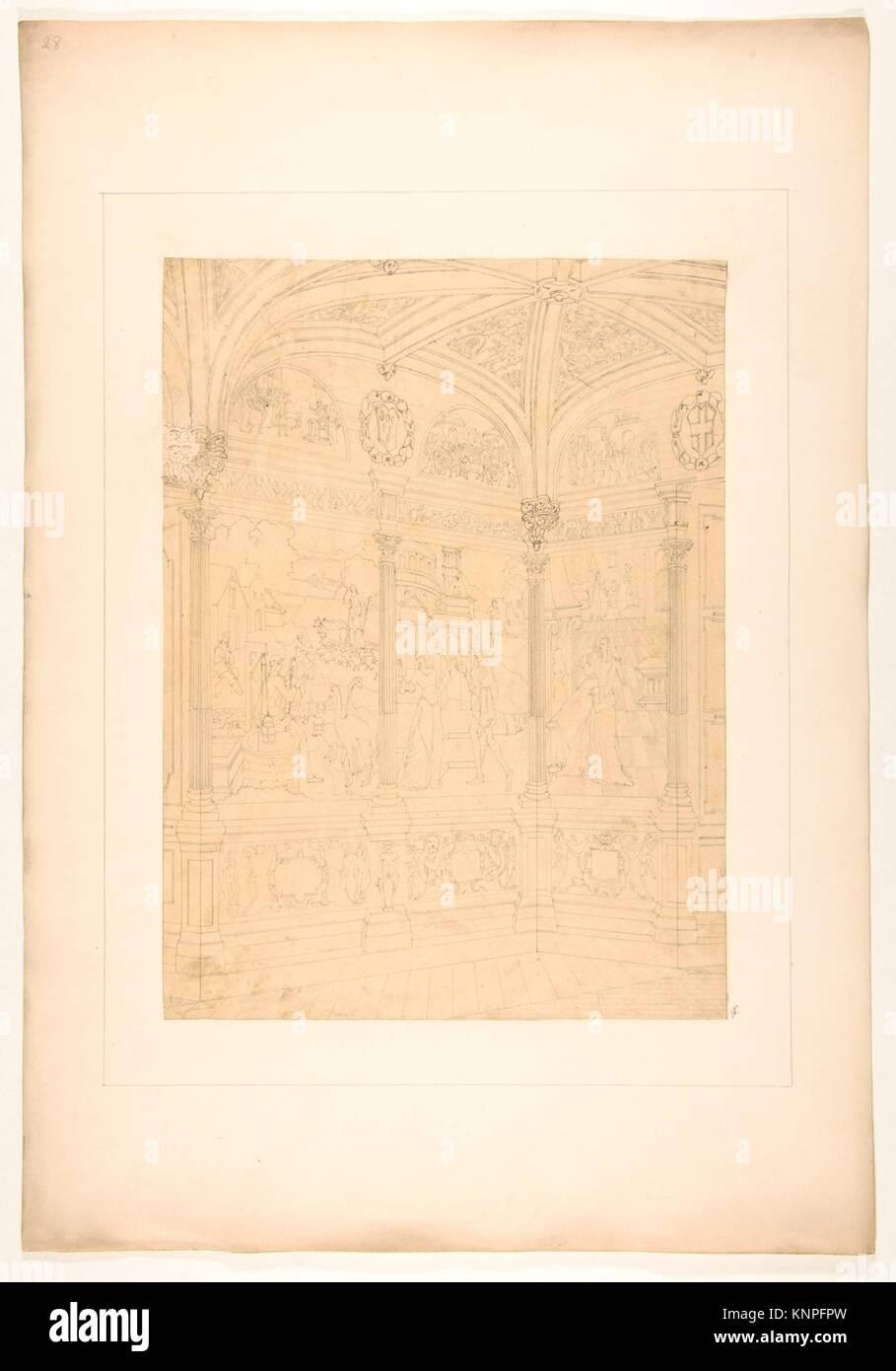Elevation of the corner of a room decorated with Renaissance-style murals and carved woodwork. Artist: Jules-Edmond - Stock Image