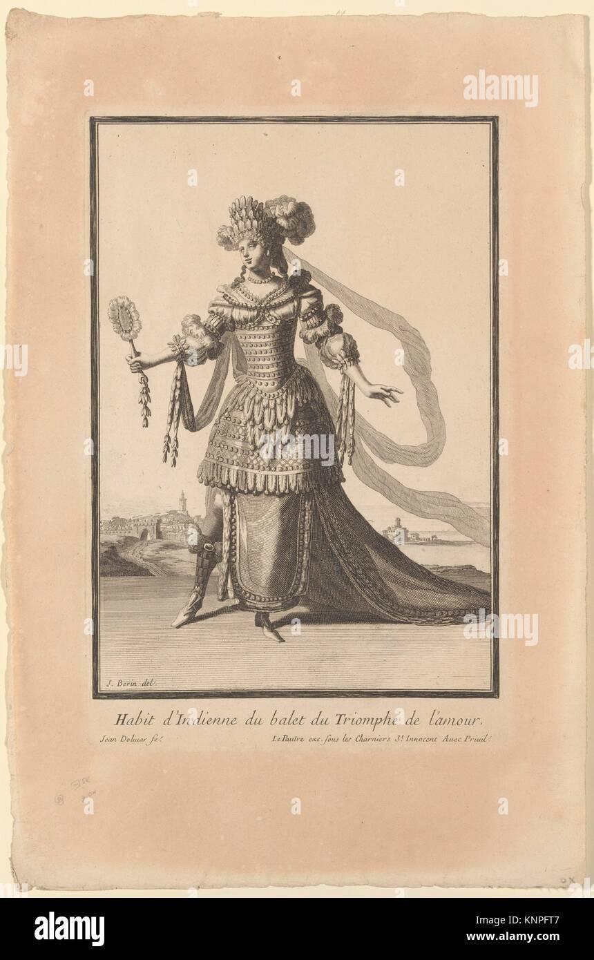 Costume of an Indian Woman from the Ballet Triumph of Love (Habit d'Indienne du balet du Triomphe de l'amour). - Stock Image