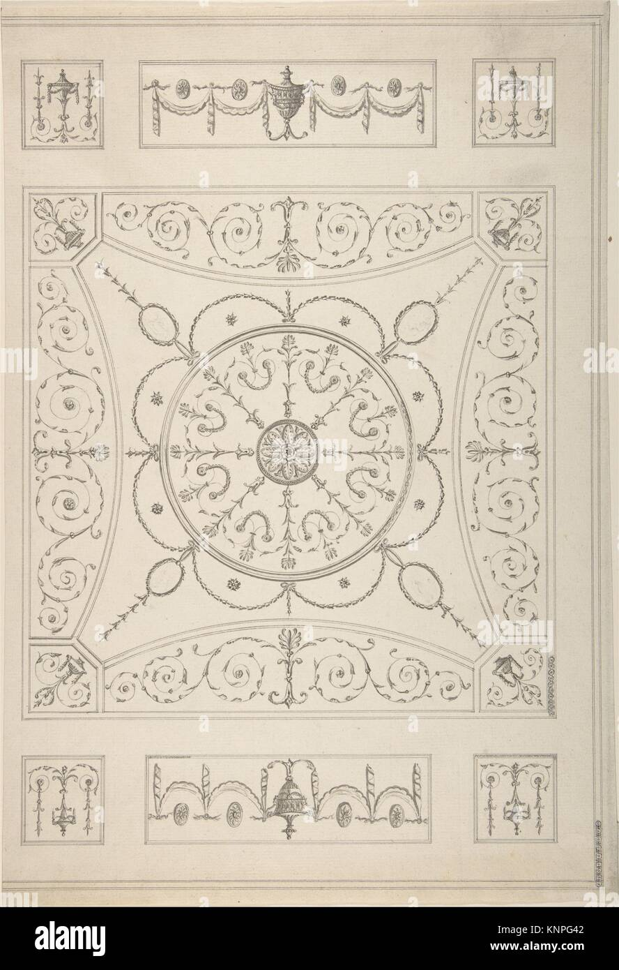 Design for an Oblong Ceiling with an Oval Centre. Artist: Attributed to James Wyatt (British, Weeford, Stafforshire - Stock Image