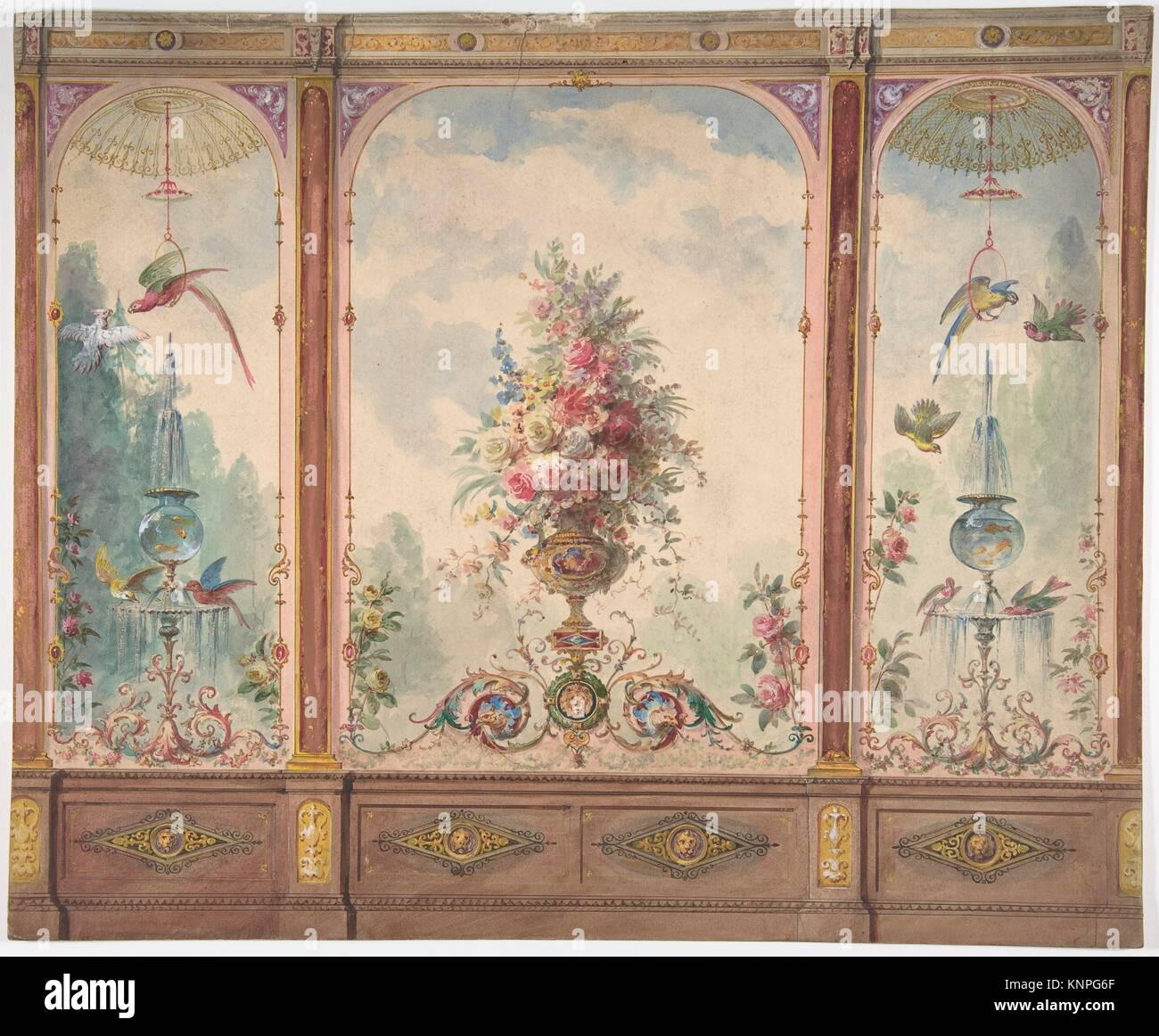 Alamy & Design for a Wall with a Flower Vase Birds Two Gold Fish ...