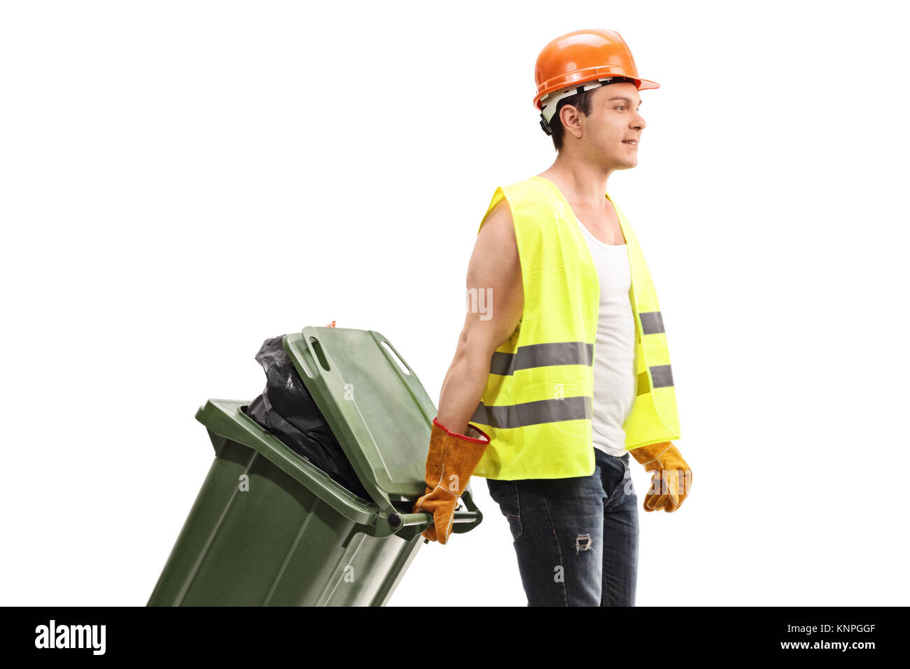 Waste collector with a trash can isolated on white background - Stock Image