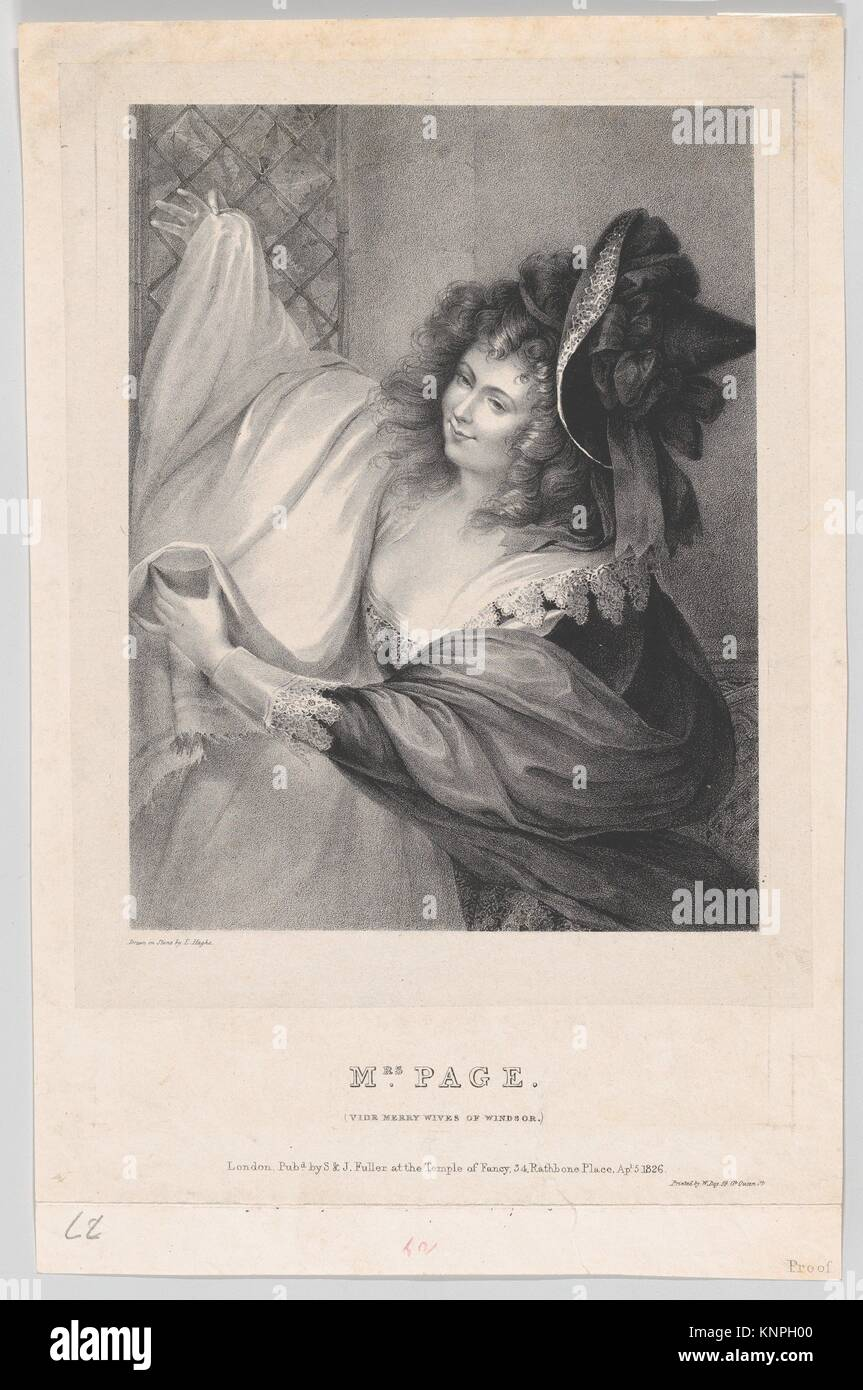 Mrs. Page (Merry Wives of Windsor). Artist: Louis Haghe (Belgian, Tournai 1806-1885 Surrey); Artist: After Matthew - Stock Image