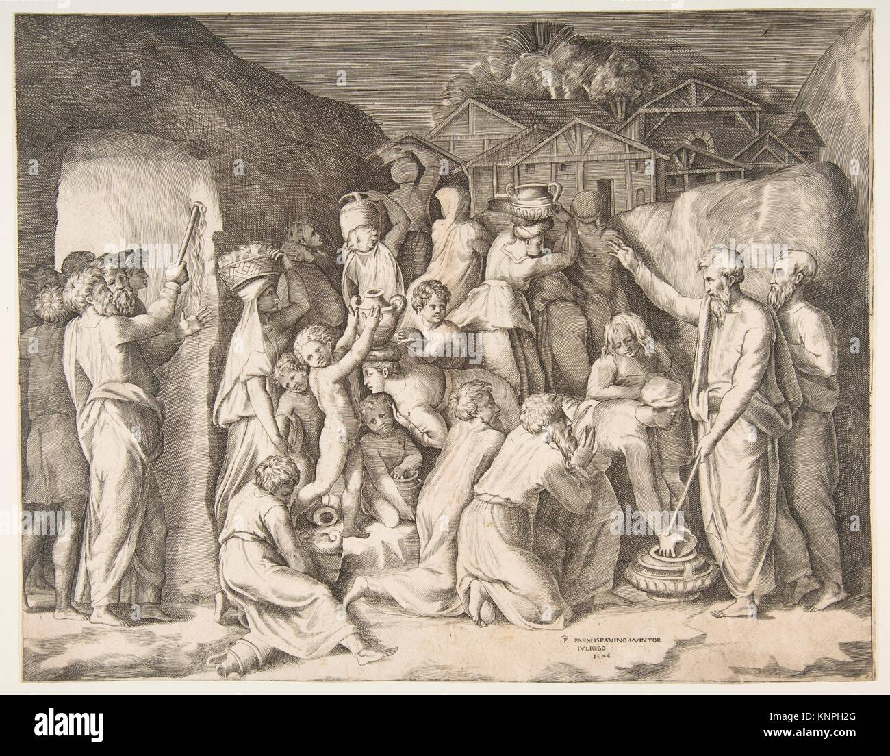 Moses at right telling the Israelites to gather the manna and at left Moses striking the rock. Artist: Giulio Bonasone - Stock Image