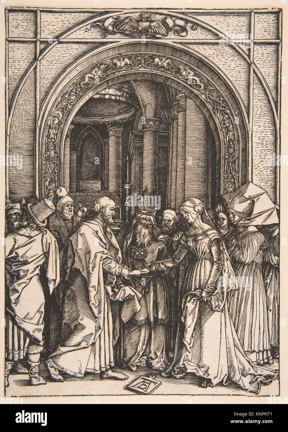 The Betrothal of the Virgin, from The Life of the Virgin. Artist: Albrecht Dürer (German, Nuremberg 1471-1528 - Stock Image