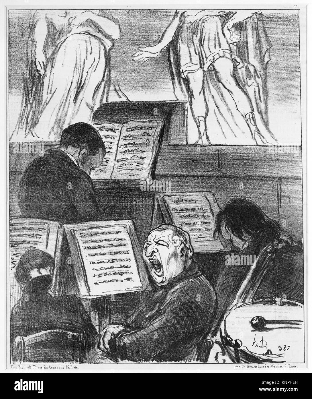 The Orchestra During the Performance of a Tragedy (L'orchestre pendant qu'on joue une tragédie), from - Stock Image