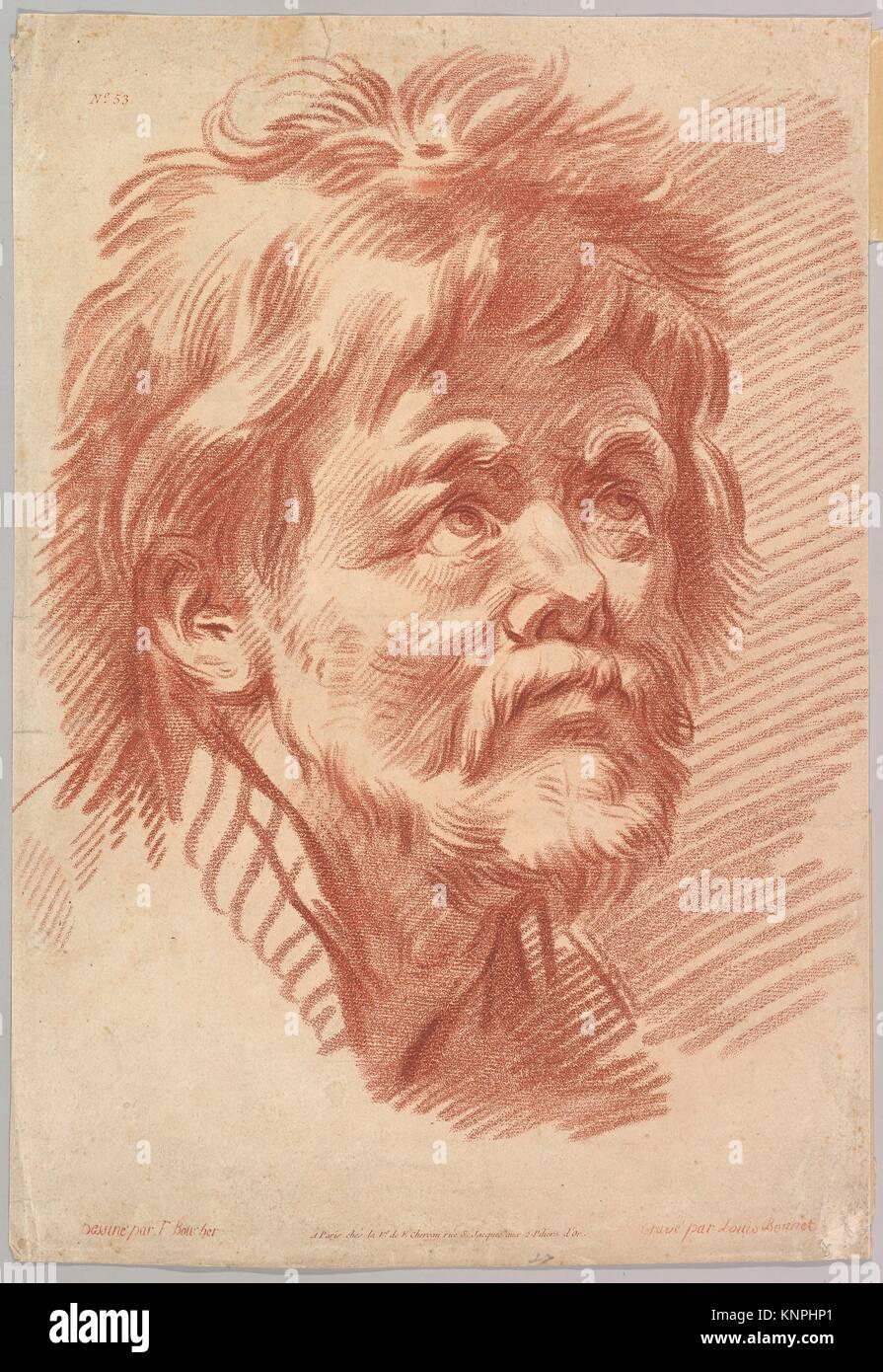 Head of an Old Man. Artist: Louis Marin Bonnet (French, Paris 1736-1793 Saint-Mandé, Val-de-Marne); Artist: - Stock Image