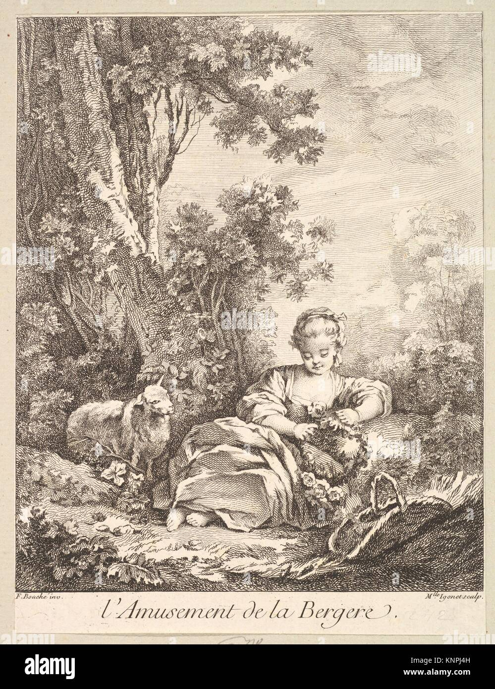 The Amusement of a Shepherd Girl. Artist: Marie Madeleine Igonet (French, active Paris, 1744-60); Artist: After - Stock Image
