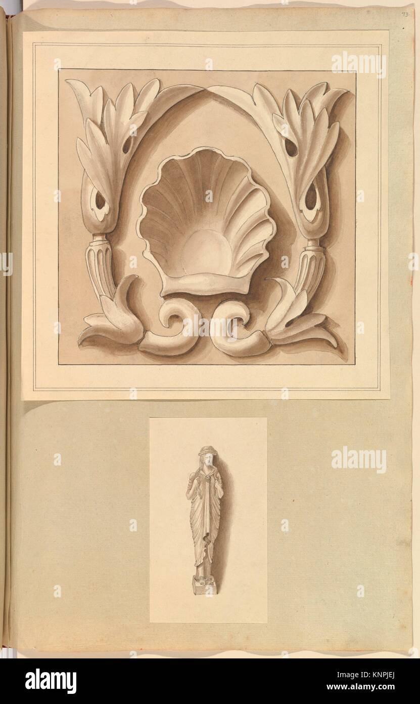 Carved Stone Ornamental Panel and Classical Female Figure. Artist: Alfred Henry Forrester [Alfred Crowquill] (British, - Stock Image