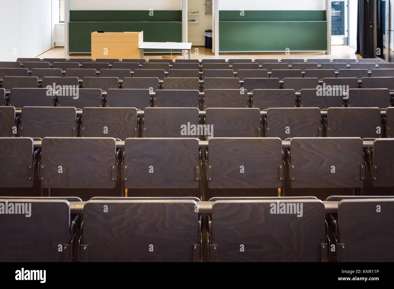 University Lecture Hall Behind Front Chairs Rows Interior Architecture Empty Learning - Stock Image