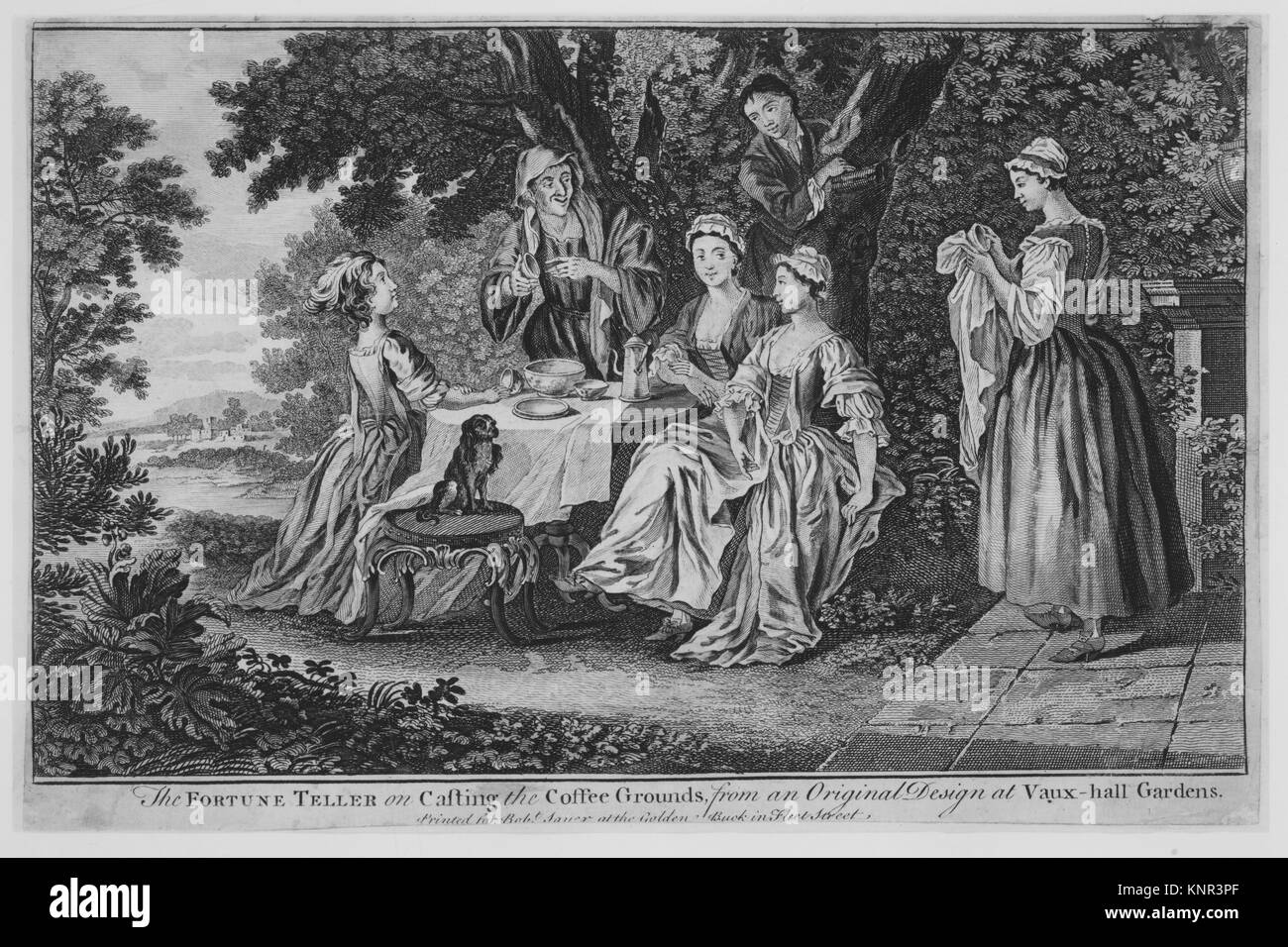The Fortune Teller on casting the coffee grounds. Artist: Anonymous, British, 18th century; Date: 18th century; - Stock Image