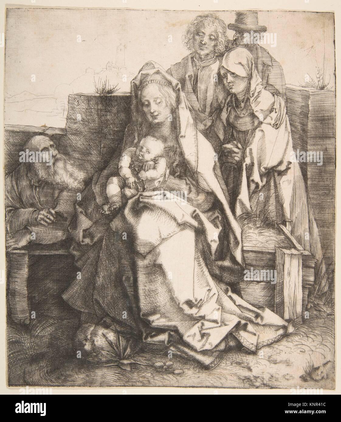 The Holy Family. Artist: Albrecht Dürer (German, Nuremberg 1471-1528 Nuremberg); Date: 1512-13; Medium: Drypoint; - Stock Image