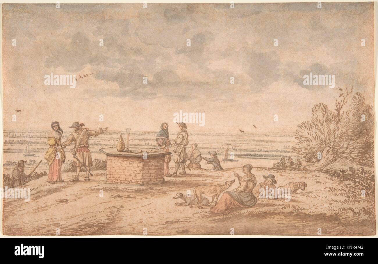 Elegant Party on the Tafelberg. Artist: Anthonie van Borssom (Dutch, Amsterdam 1630/31-1677 Amsterdam); Date: 17th - Stock Image