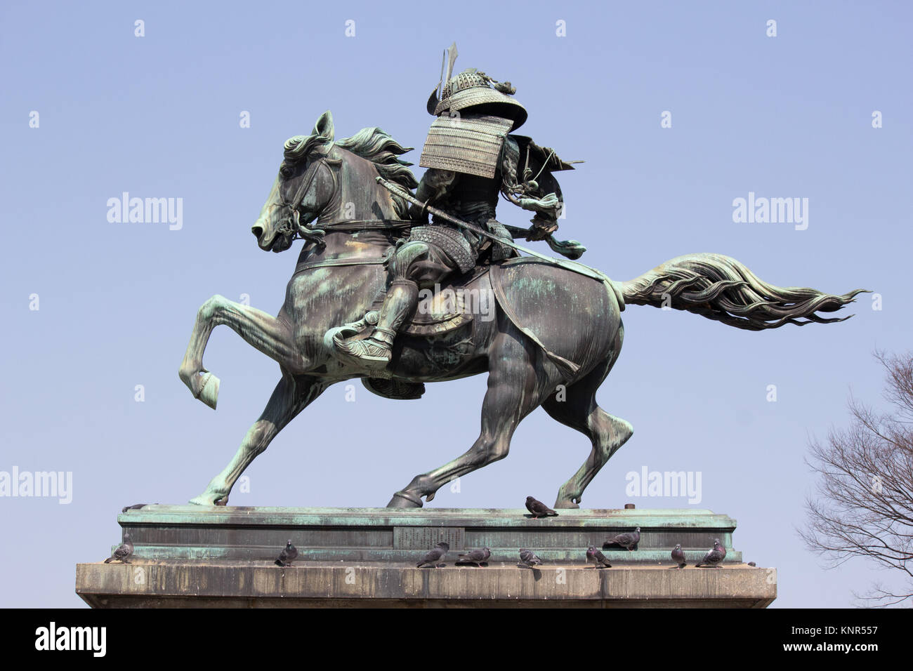 The statue of Kusunoki Masashige in Kokyogaien Park near the Imperial Palace, Tokyo - Stock Image