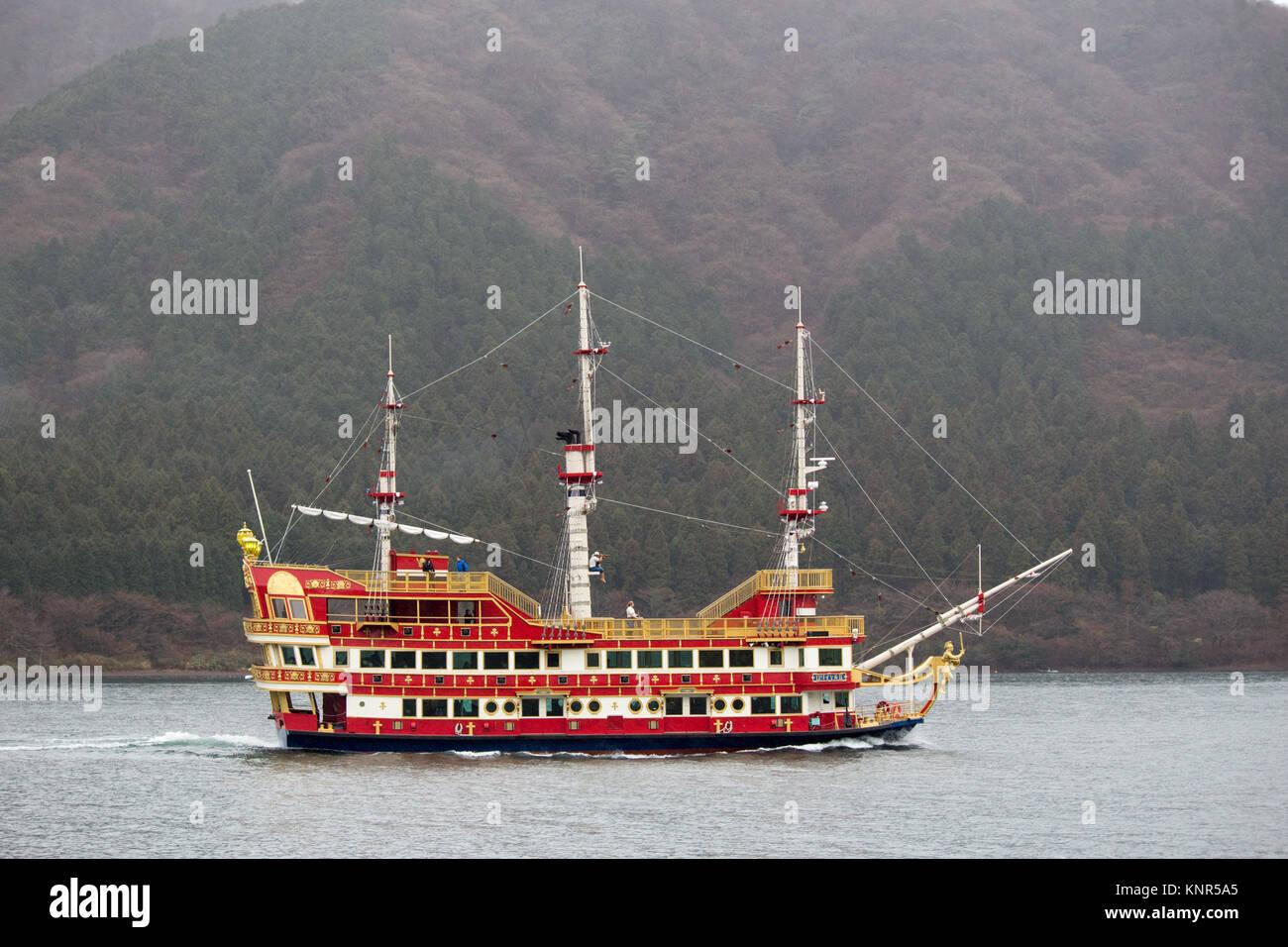 Pirate tourist ship on a misty Hakone Lake in Japan - Stock Image