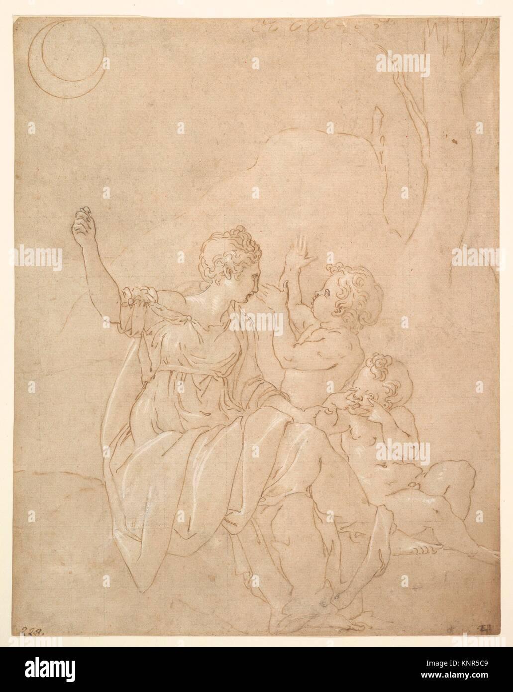 Classical Female Figure (Diana or Venus) with Two Infants. Artist: Francesco Primaticcio (Italian, Bologna 1504/5 - Stock Image