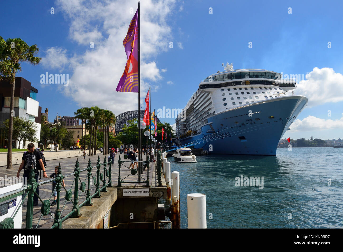 Cruise ship berthed at Overseas Passenger Terminal on Circular Quay, Sydney, New South Wales, Australia - Stock Image