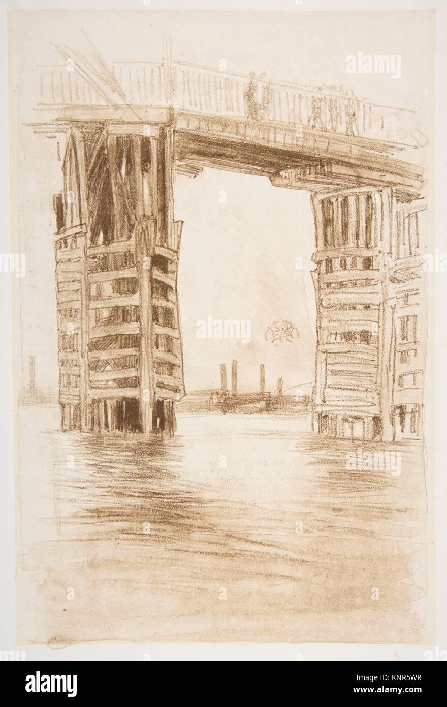The Tall Bridge. Artist: James McNeill Whistler (American, Lowell, Massachusetts 1834-1903 London); Date: 1878; - Stock Image
