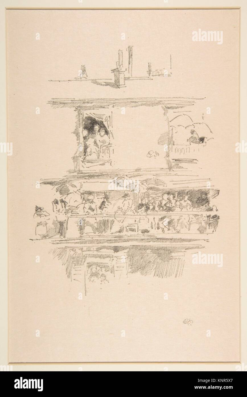The Long Balcony (Paris Windows, The Long Balcony). Artist: James McNeill Whistler (American, Lowell, Massachusetts - Stock Image