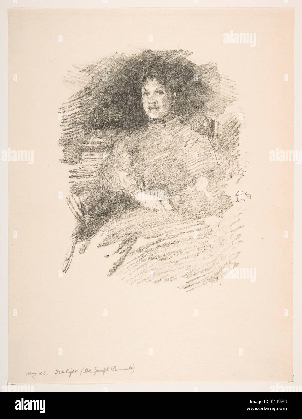 Firelight (Mrs. Joseph Pennell). Artist: James McNeill Whistler (American, Lowell, Massachusetts 1834-1903 London); - Stock Image