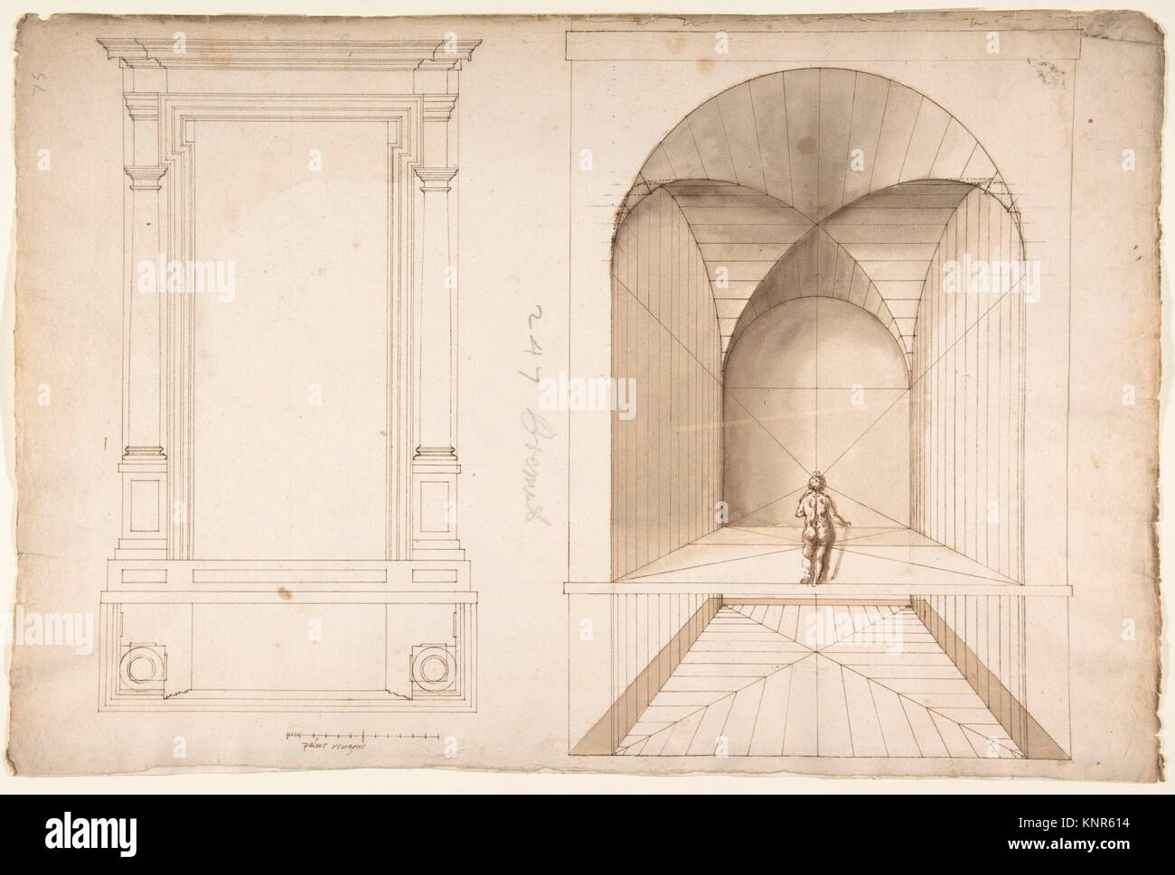 Unknown, portal or niche, plan and elevation; perspective study, interior, square chamber with cross-vault, with - Stock Image
