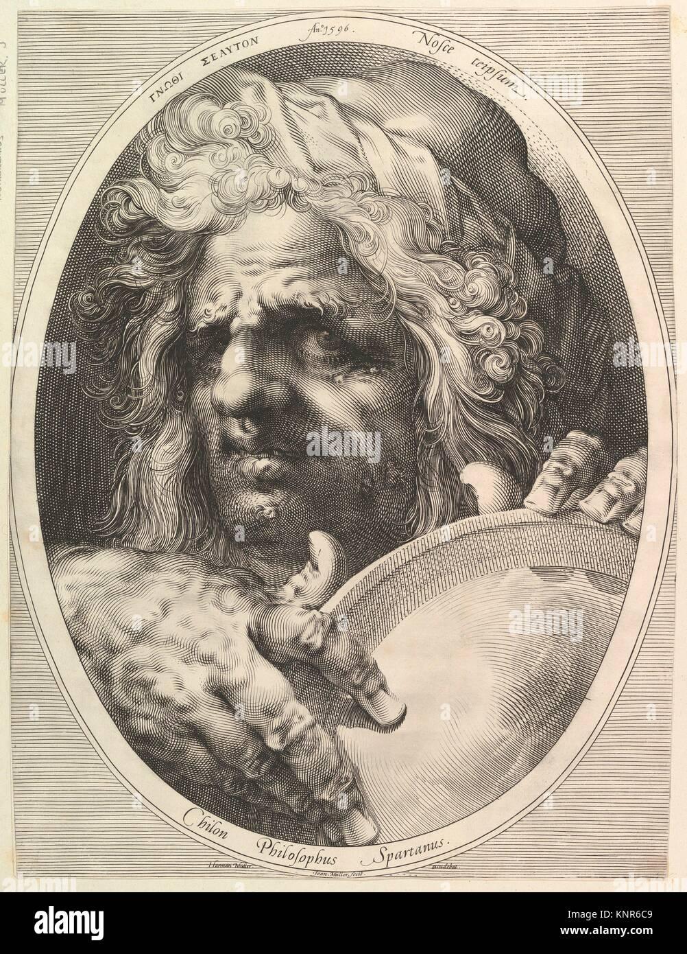 Chilon, Legislator & Philosopher of Sparta. Artist: Jan Muller (Netherlandish, Amsterdam 1571-1628 Amsterdam); - Stock Image