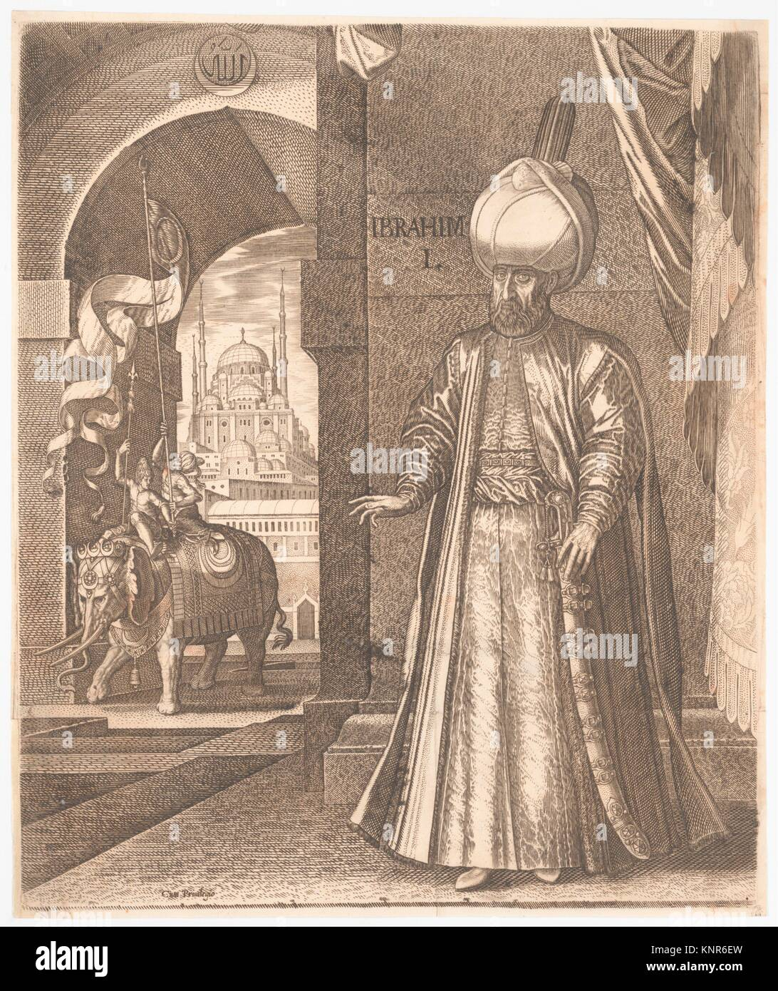 Sultan Süleyman and the Süleymaniye Mosque, Constantinople, 1574 (or earlier) , altered in 1688 to represent - Stock Image