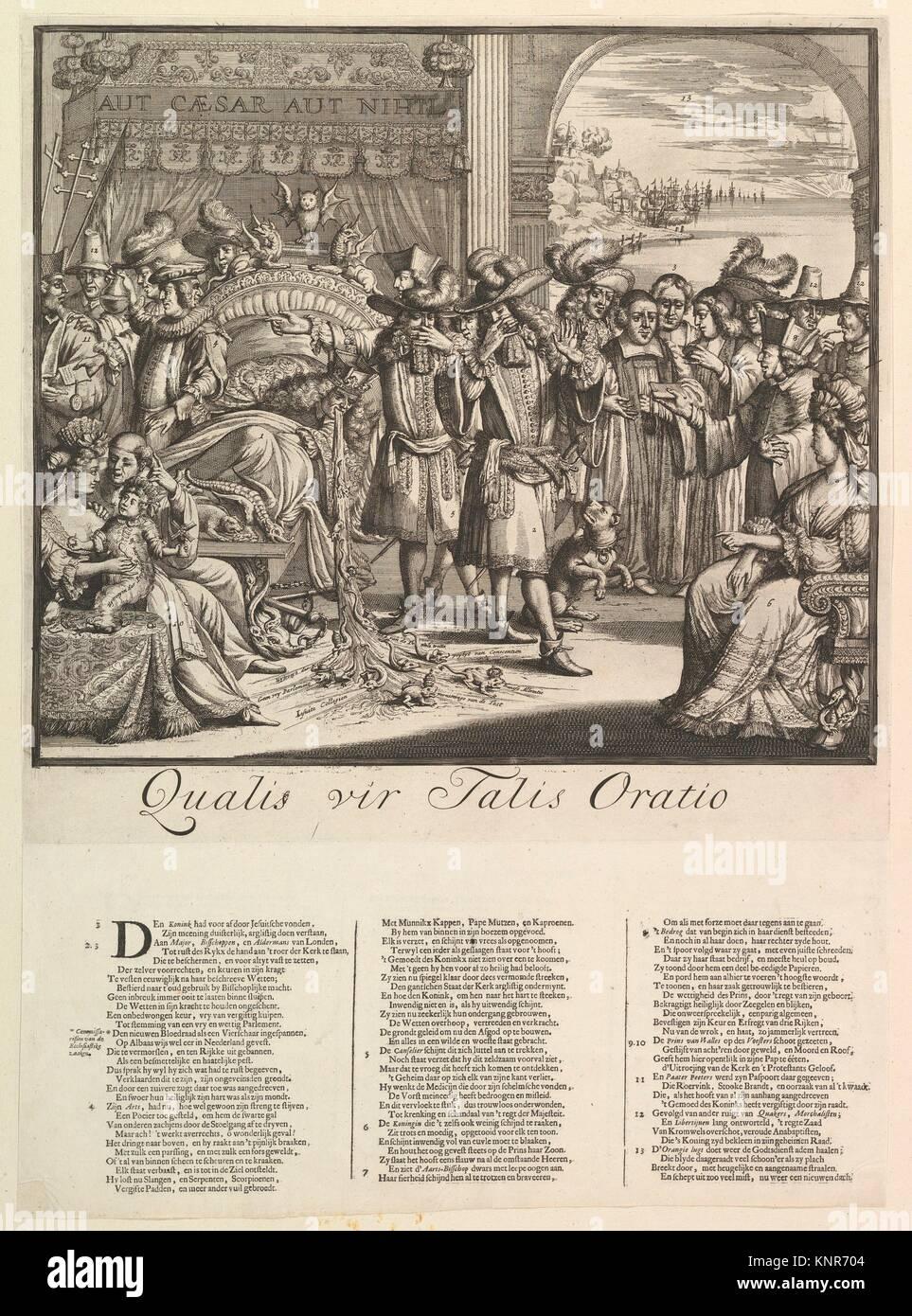 Qualis vir Talis Oratio. Artist: Romeyn de Hooghe (Dutch, 1645-1708); Date: n.d; Medium: Etching and letterpress; - Stock Image