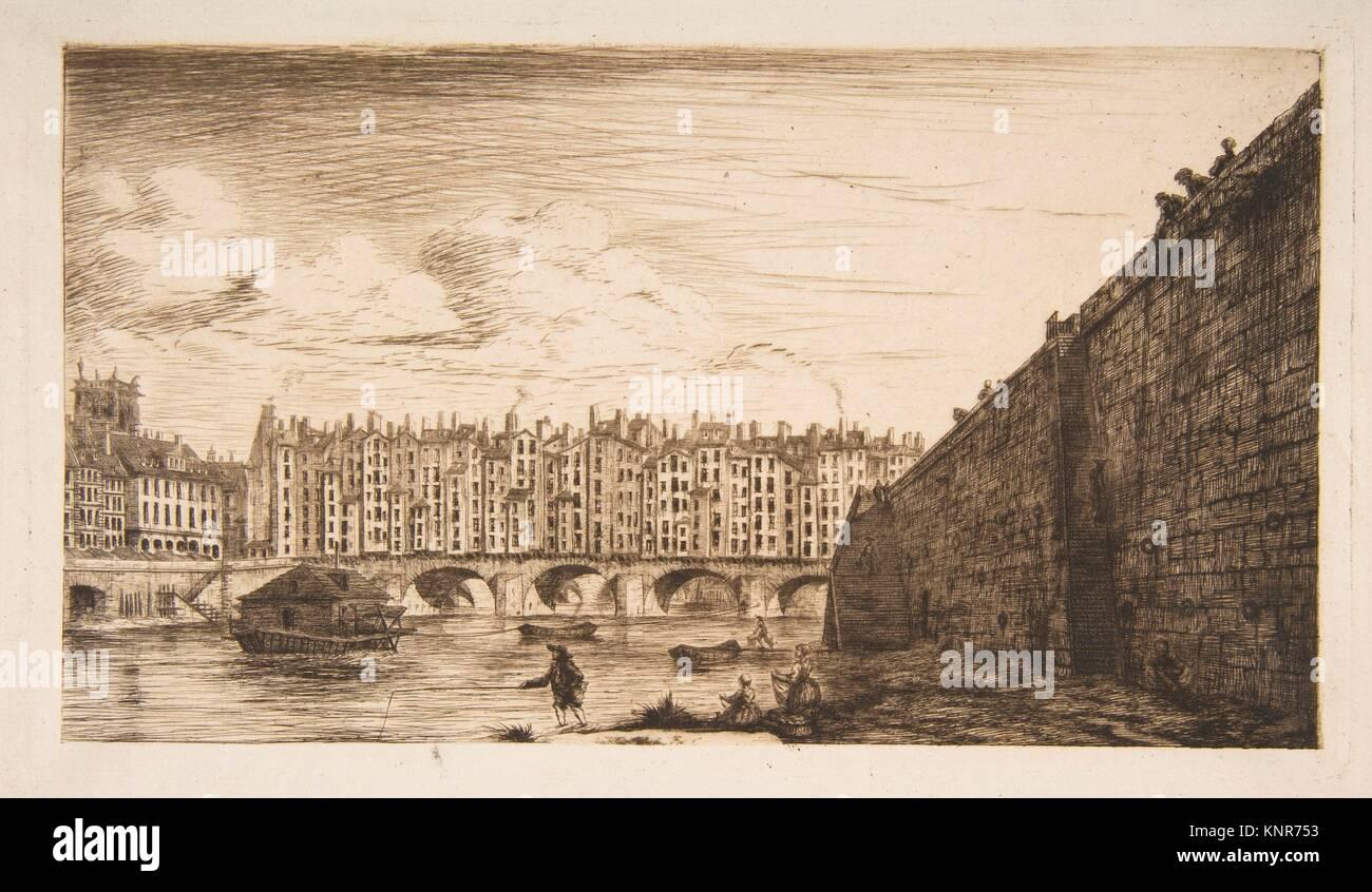 Le Pont-au-Change, vers 1784 (Pont-au-Change, Paris, circa 1784, after Nicolle). Artist: Charles Meryon (French, - Stock Image
