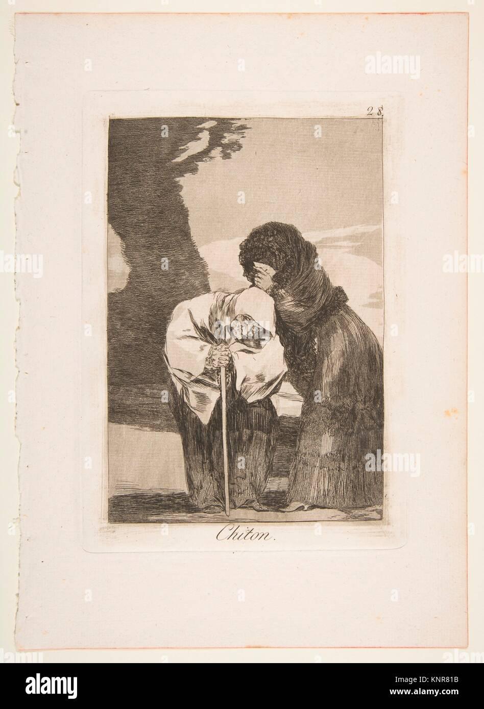 Plate 28 from 'Los Caprichos': Hush (Chiton.). Series/Portfolio: Los Caprichos; Artist: Goya (Francisco - Stock Image