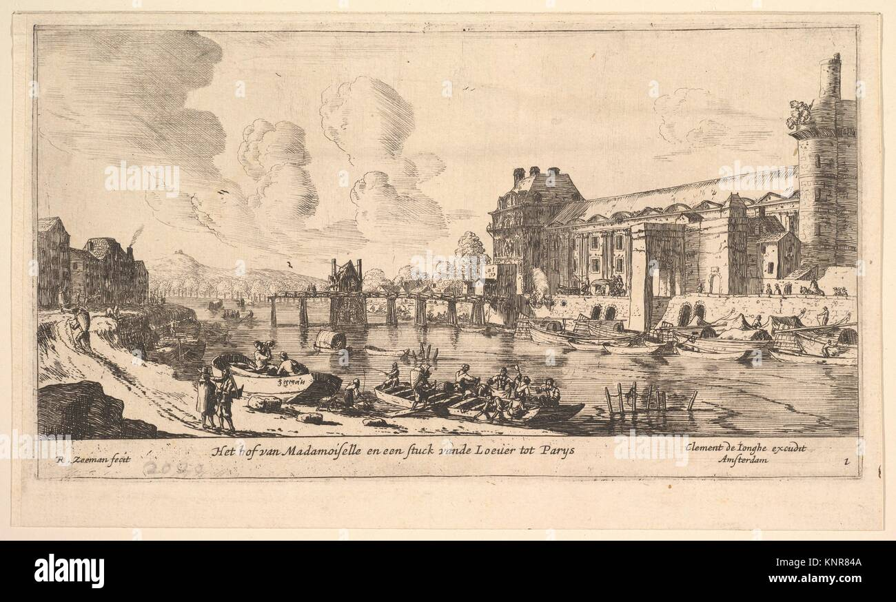 View of the Louvre and the Tuileries, from Views of Paris and Neighborhoods, plate 1. Artist: Reinier Nooms, called - Stock Image