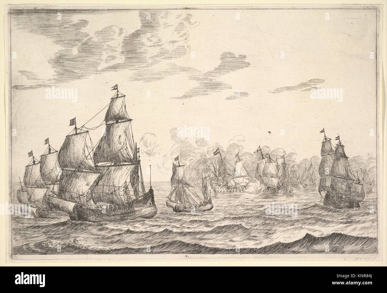 Naval Battle Scene. Artist: Reinier Nooms, called Zeeman (Dutch, Amsterdam ca. 1623-1664 Amsterdam); Date: 17th century; Medium: Etching; Dimensions: Stock Photo