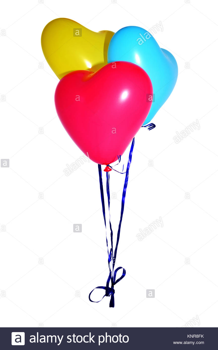Red, yellow and blue balloons, attached by dark blue thread - Stock Image