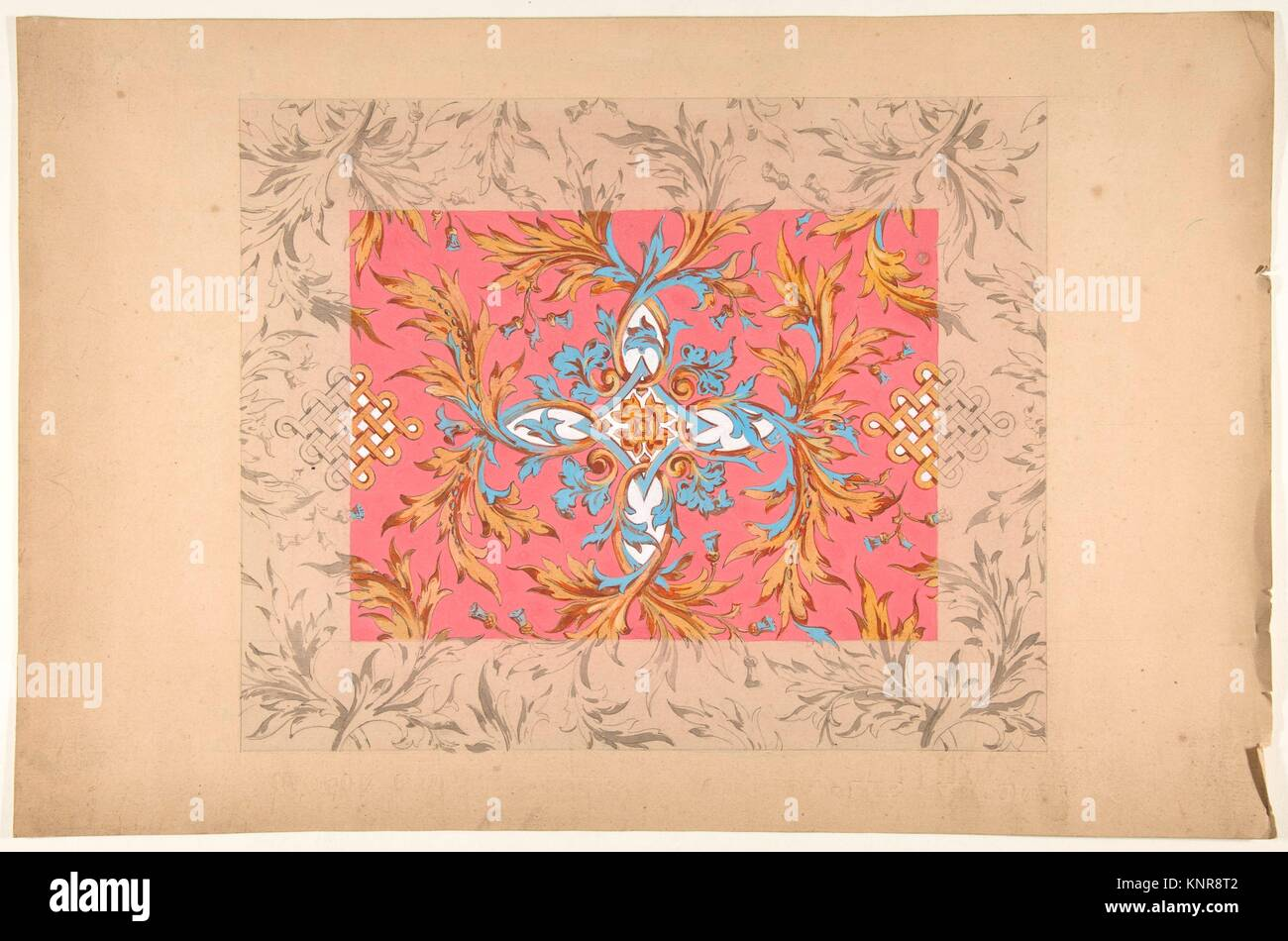 Design for a ceiling with floral design. Artist: Jules-Edmond-Charles Lachaise (French, died 1897); Artist: Eugène - Stock Image