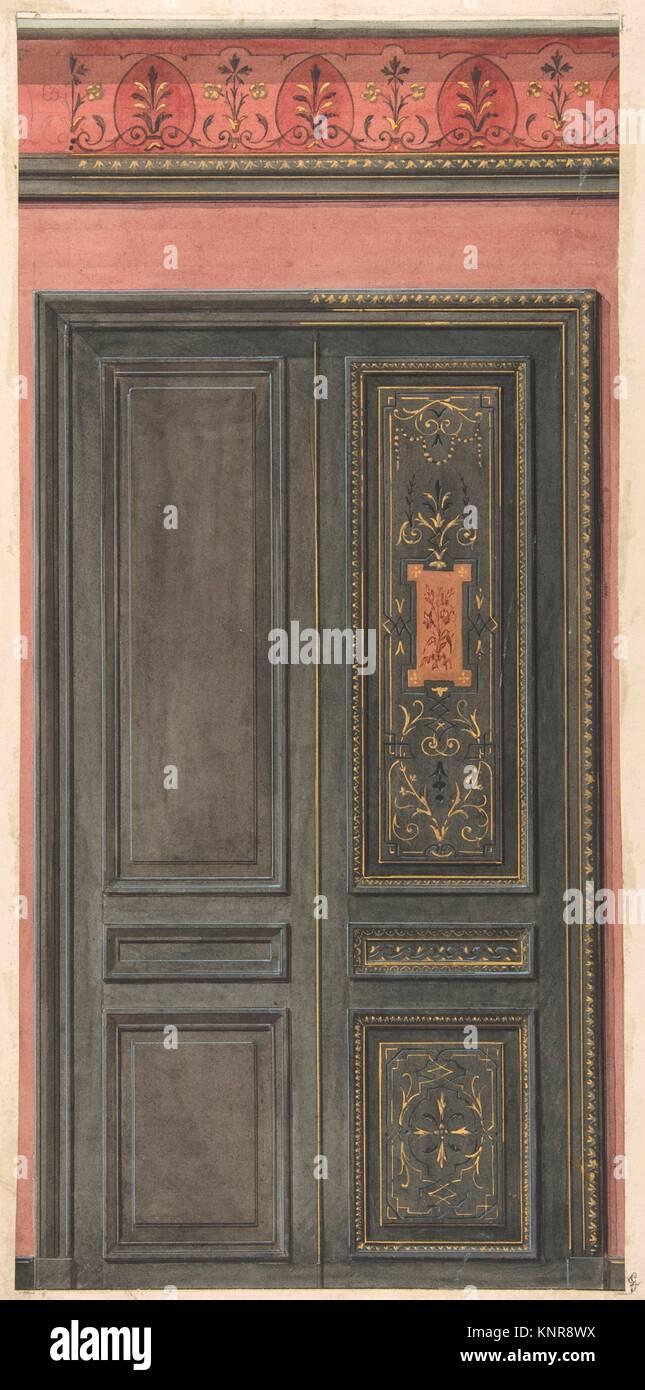 Design for a door. Artist: Jules-Edmond-Charles Lachaise (French, died 1897); Artist: Eugène-Pierre Gourdet - Stock Image