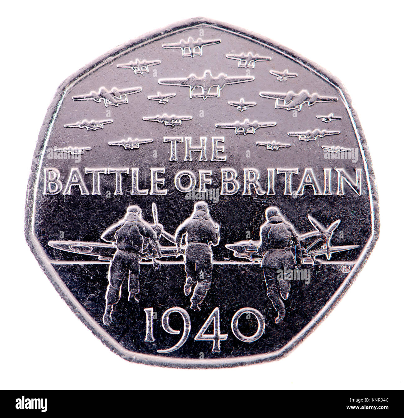 British commemorative 50p coin. 75th Anniversary of the Battle of Britain (Gary Breeze: 2015) - Stock Image
