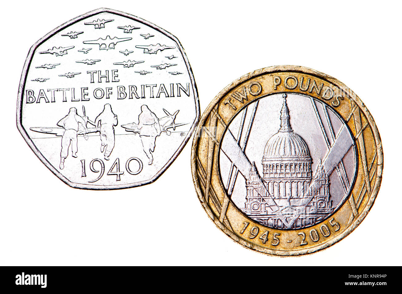British commemorative coins.  50p coin: 75th Anniversary of the Battle of Britain (Gary Breeze: 2015) £2 coin: - Stock Image