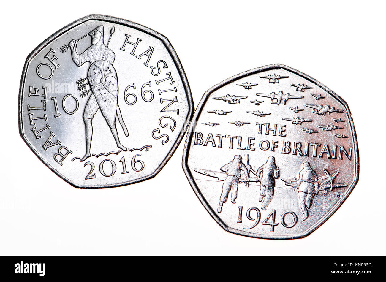 British commemorative 50p coin. 75th Anniversary of the Battle of Britain (Gary Breeze: 2015) 950th anniversary - Stock Image
