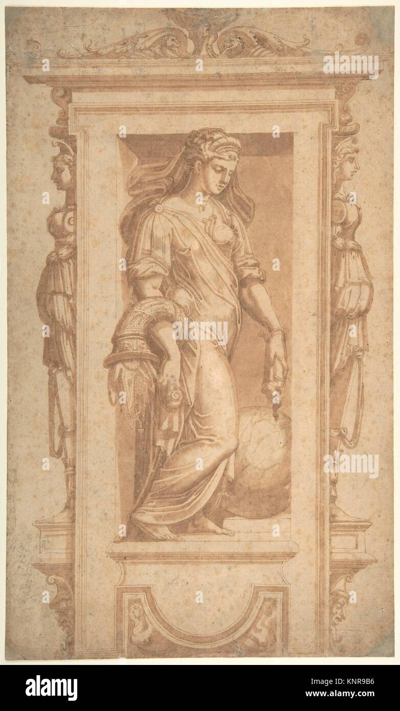 Female Allegorical Figure of Benignitas (Goodness), with Attributes of Abundance Standing in a Niche (recto); Architectural - Stock Image