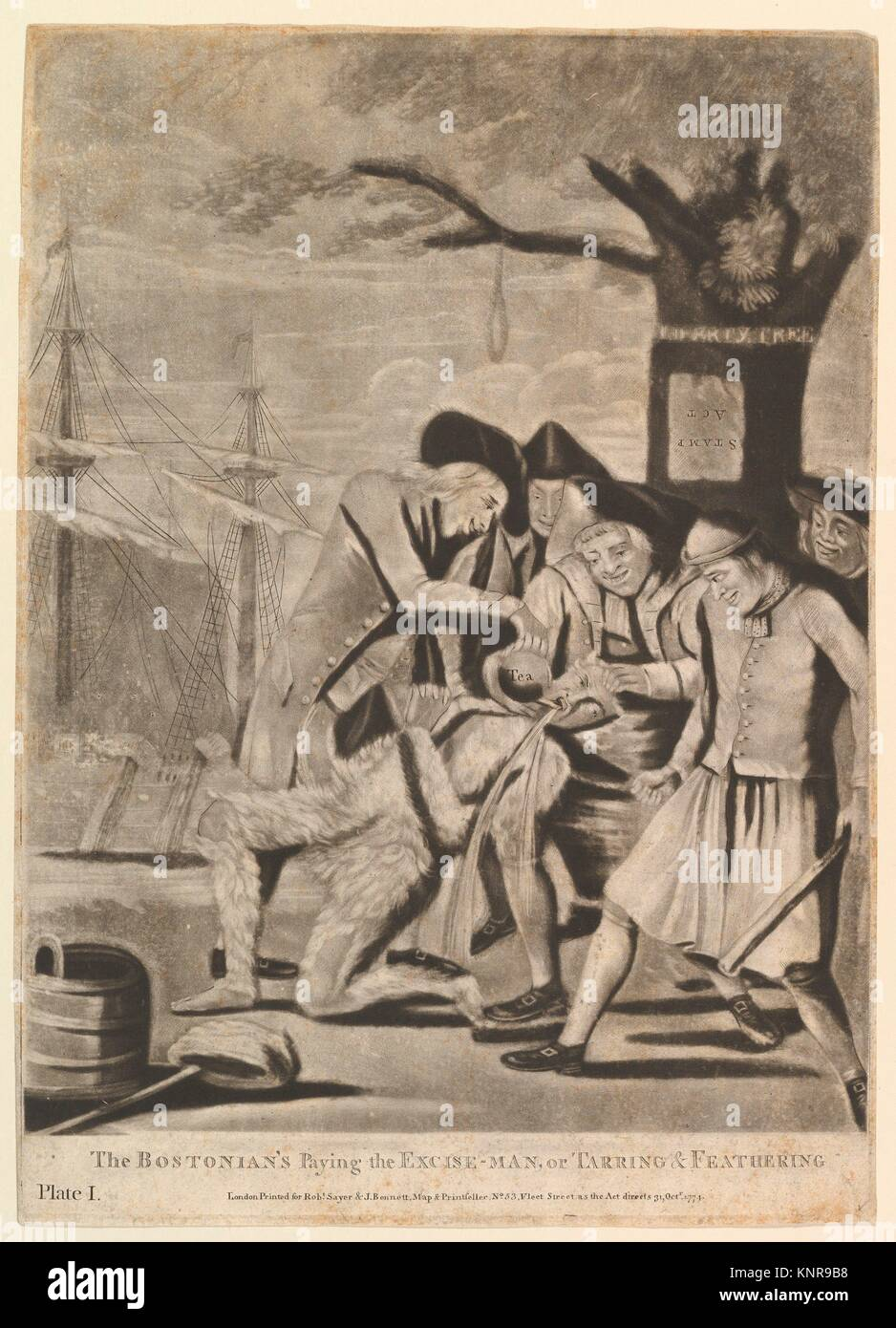 The Bostonians Paying the Excise-Man, or Tarring & Feathering. Artist: Attributed to Philip Dawe (British, 1745? Stock Photo