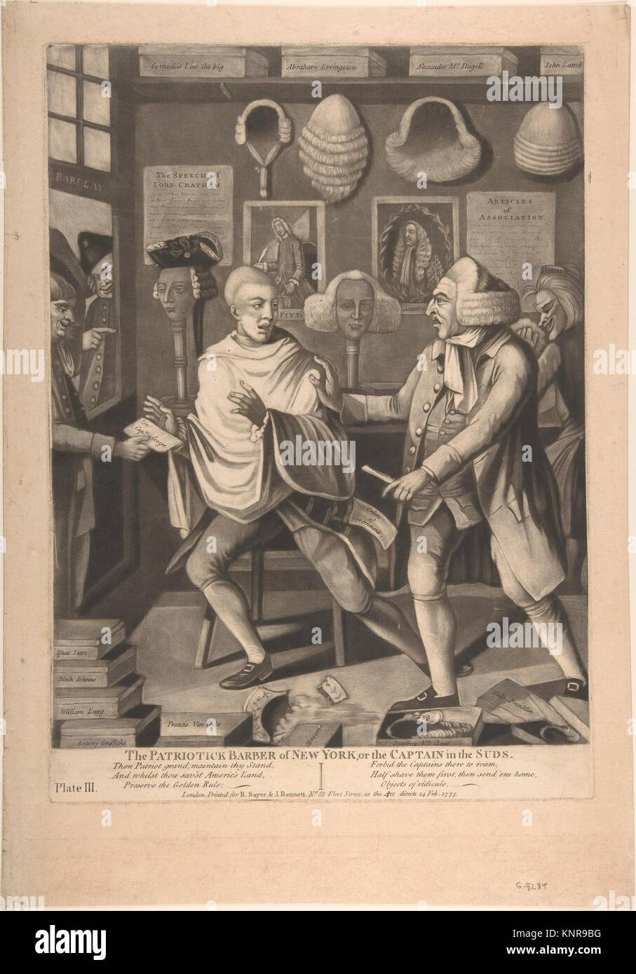 The Patriotick Barber of New York, or the Captain in the Suds. Artist: Attributed to Philip Dawe (British, 1745? - Stock Image