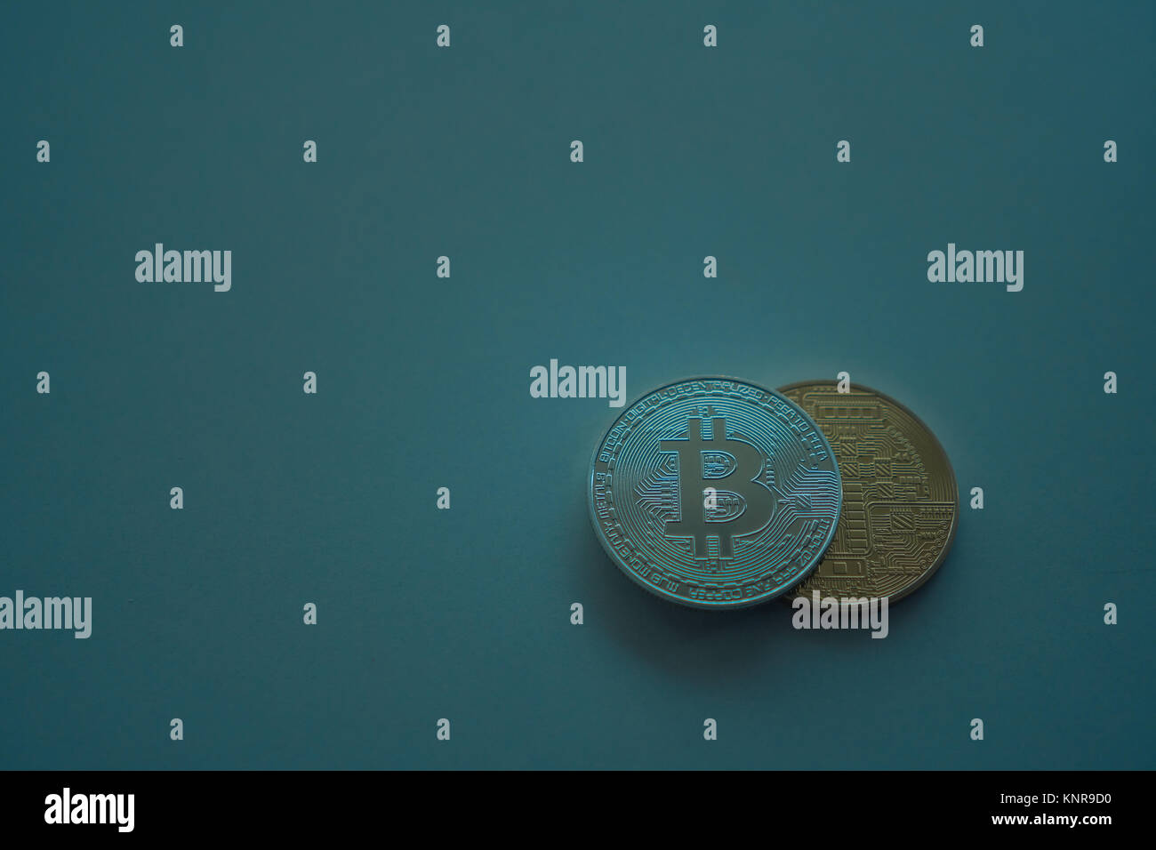 Silver and gold coins are a bit of a coin. BTC. Color filter. Virtual currency. Crypto currency - Stock Image