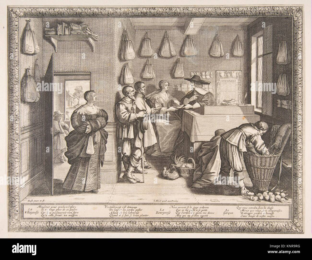 Employment bureau. artist: abraham bosse french tours stock photo
