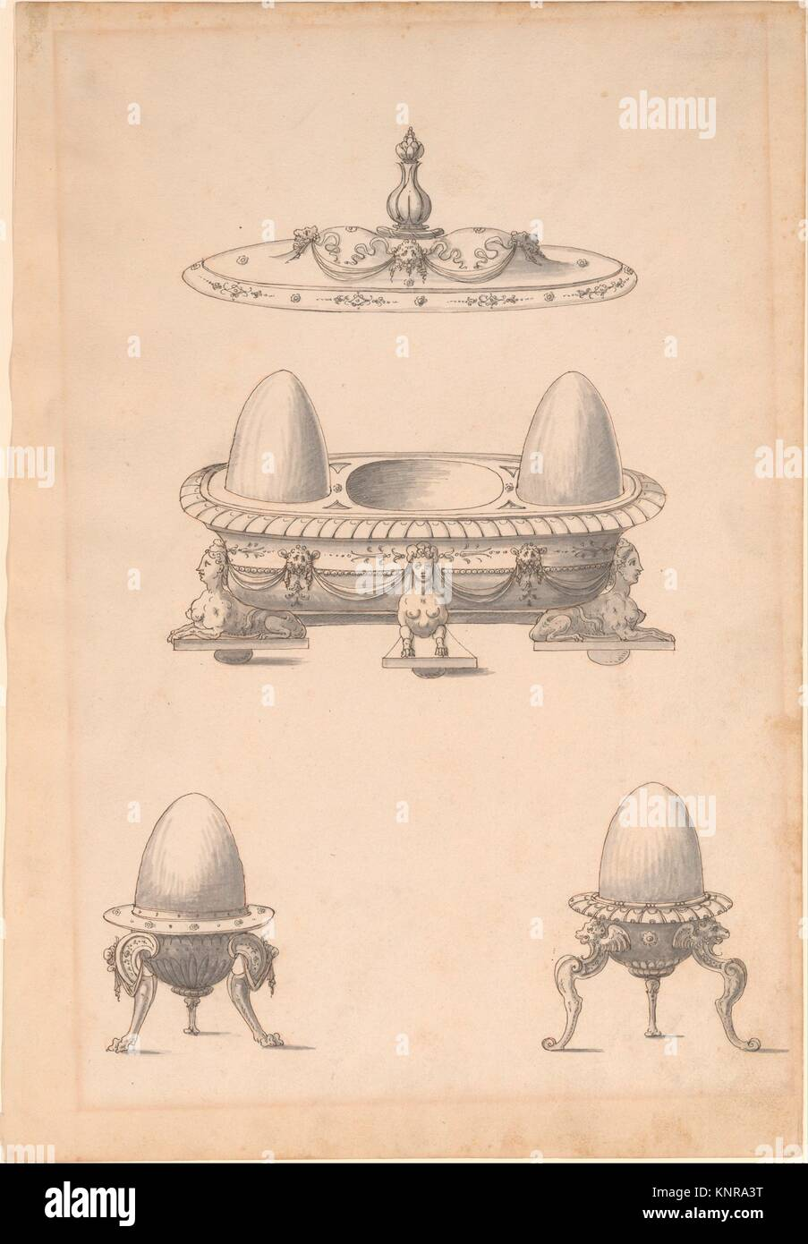 Design for Parade Egg Cups and Combined Egg Cup/Salt Cellar with Lid. Artist: Erasmus Hornick (Netherlandish, Antwerp - Stock Image