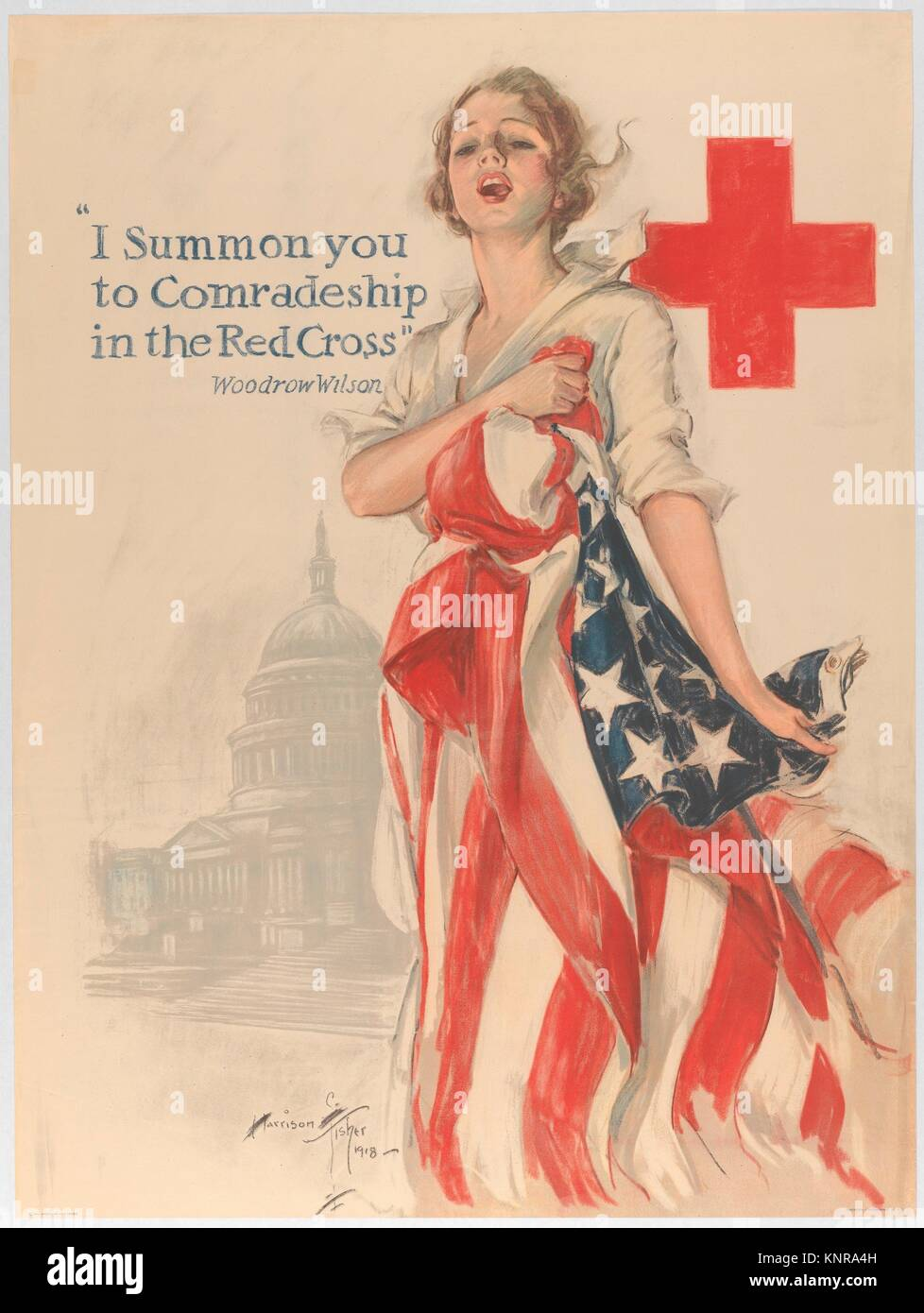 I Summon You to Comradeship in the Red Cross. Artist: Harrison Fisher (American, Brooklyn, New York 1877-1934 New - Stock Image