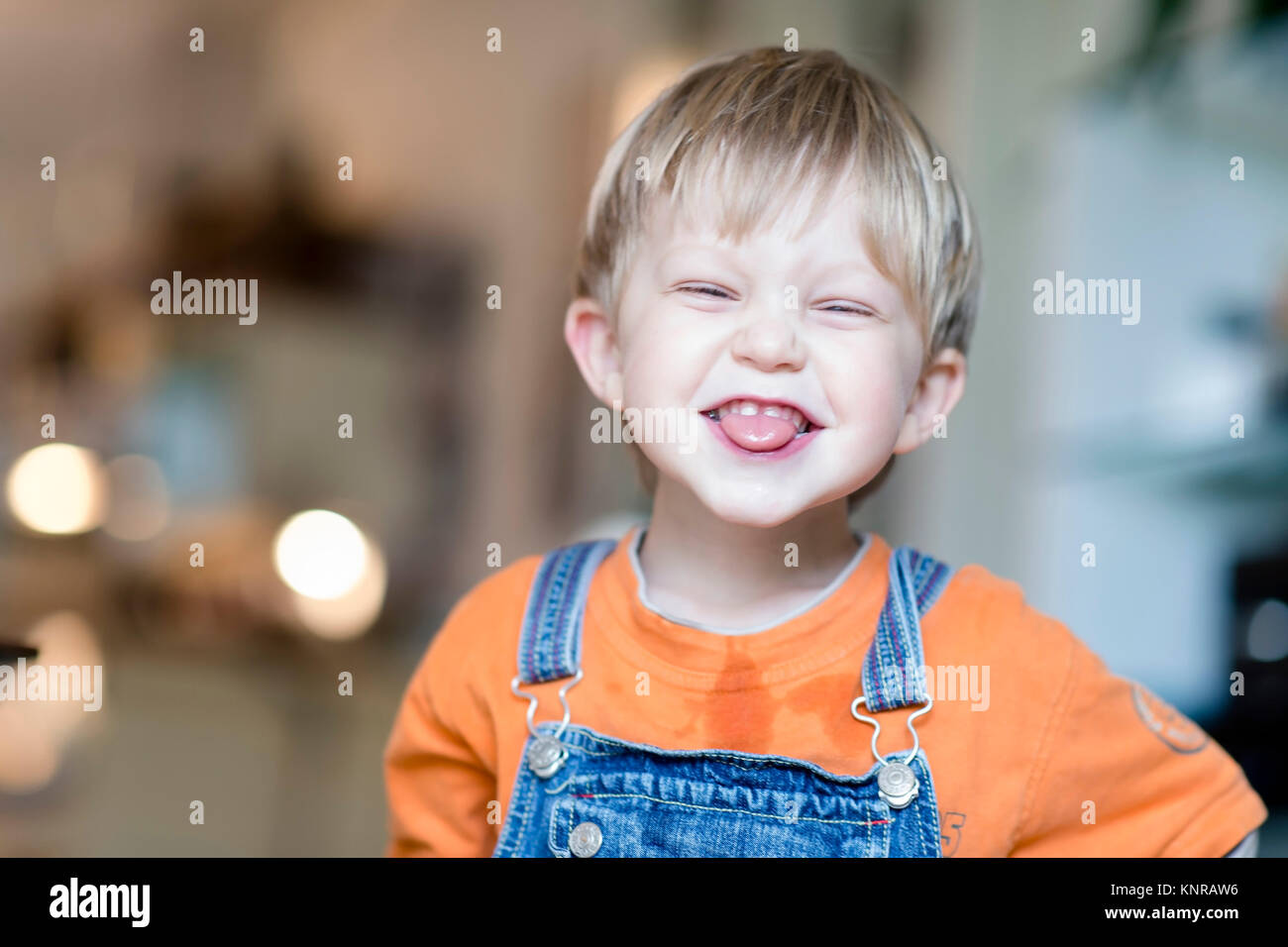 Froehlicher Junge, 4 Jahre - laughing little boy, 4 years old Stock Photo