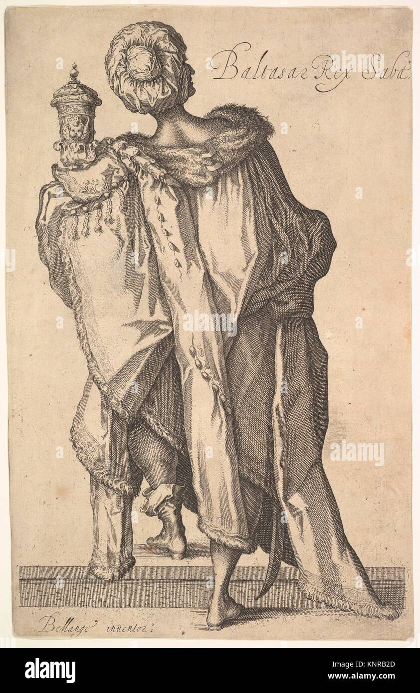 Balthasar, after figure in The Adoration of the Magi by Jacques Bellange. Artist: Matthäus Merian the Elder (Swiss, Stock Photo