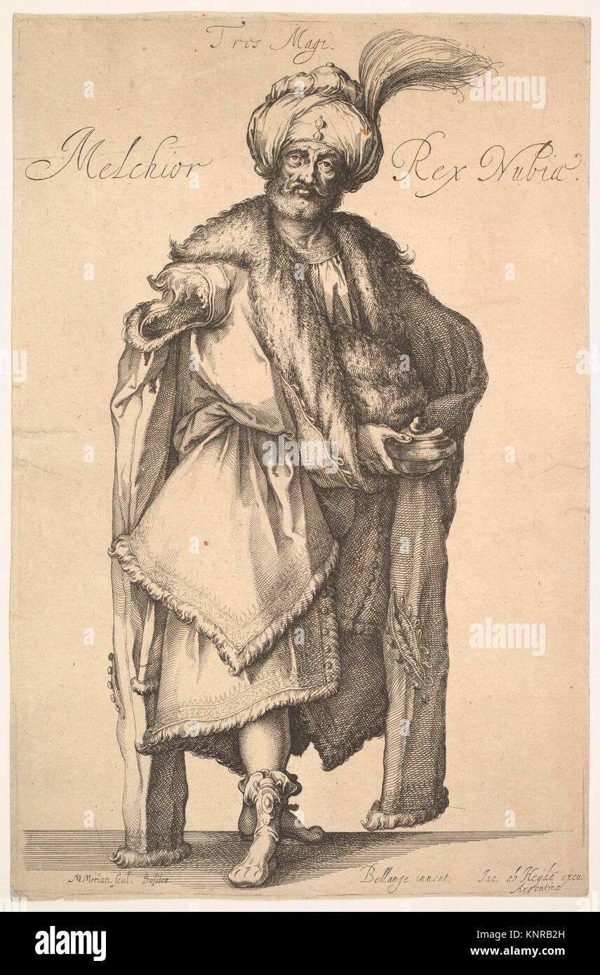 Melchior, after Three Magi series by Jacques Bellange. Artist: Matthäus Merian the Elder (Swiss, Basel 1593-1650 Schwalbach); Artist: After Jacques Stock Photo