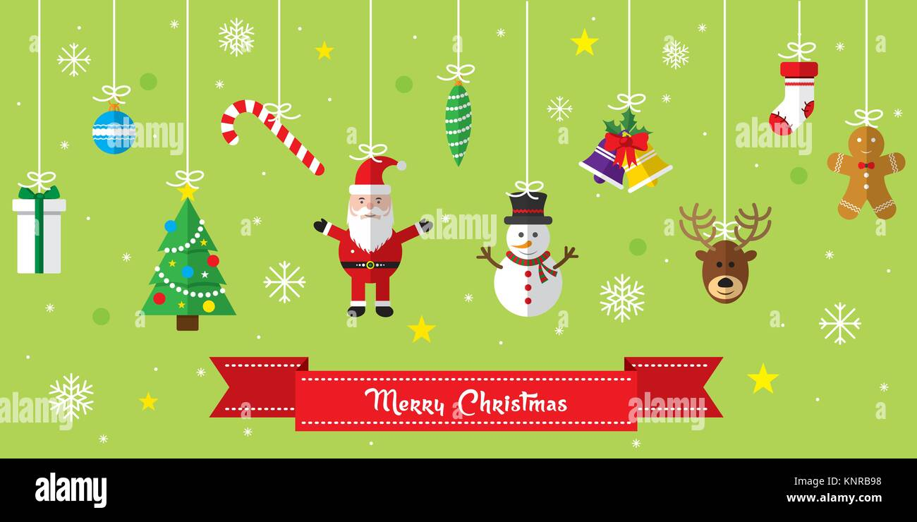 d9a631920 Merry Christmas background. Set of Christmas icons flat in vector ...