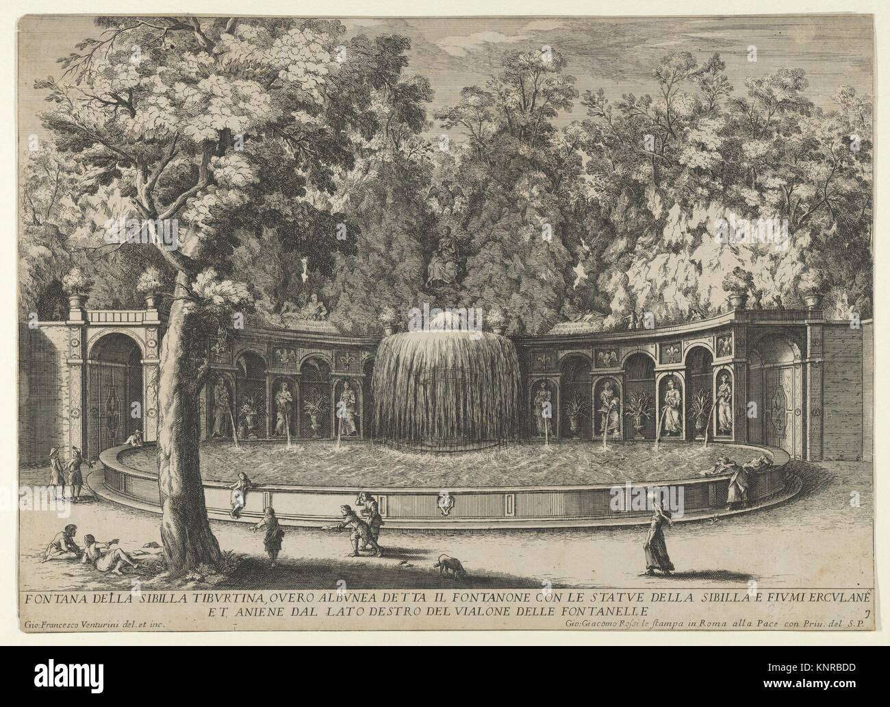 Book IV, plate 7: the fountain of the Tiburtine sibyl in the garden at Villa d´Este, Tivoli, from the series ´The Stock Photo