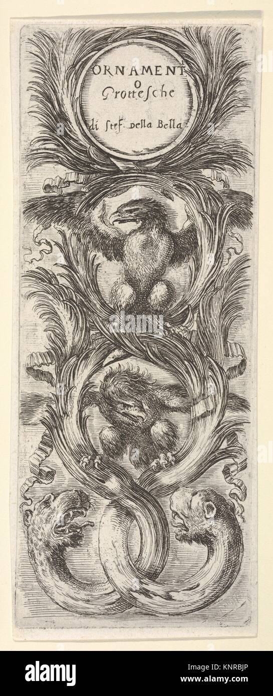 Two eagles with wings spread, below two leopard heads attached to tree trunks that form three circles, from 'Ornaments - Stock Image